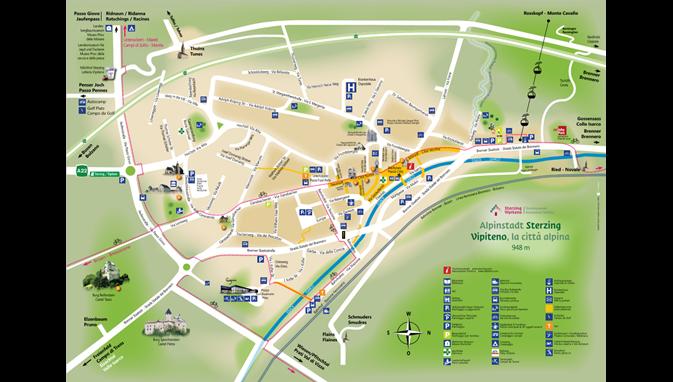 Cartina Geografica Vipiteno E Dintorni.La Mappa Della Citta Di Vipiteno